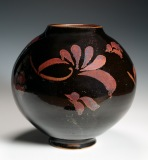 "Tenmoku vase with floral decoration (9.5"" H.) $350"