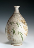 "Shino vase with leaf design (10.5"" H.) $450"