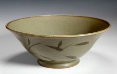 "Olive matt bowl with  brush decoration (11.5"" D.) $250"