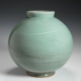 "Celadon vase with slip decoration (9.25"" H.) $350 SOLD"